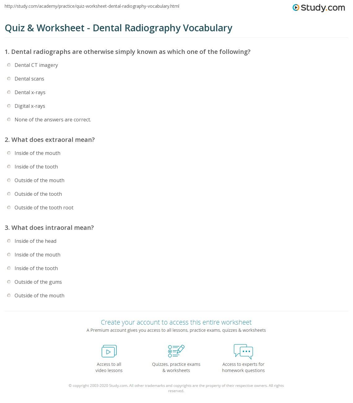 Quiz & Worksheet - Dental Radiography Vocabulary | Study.com