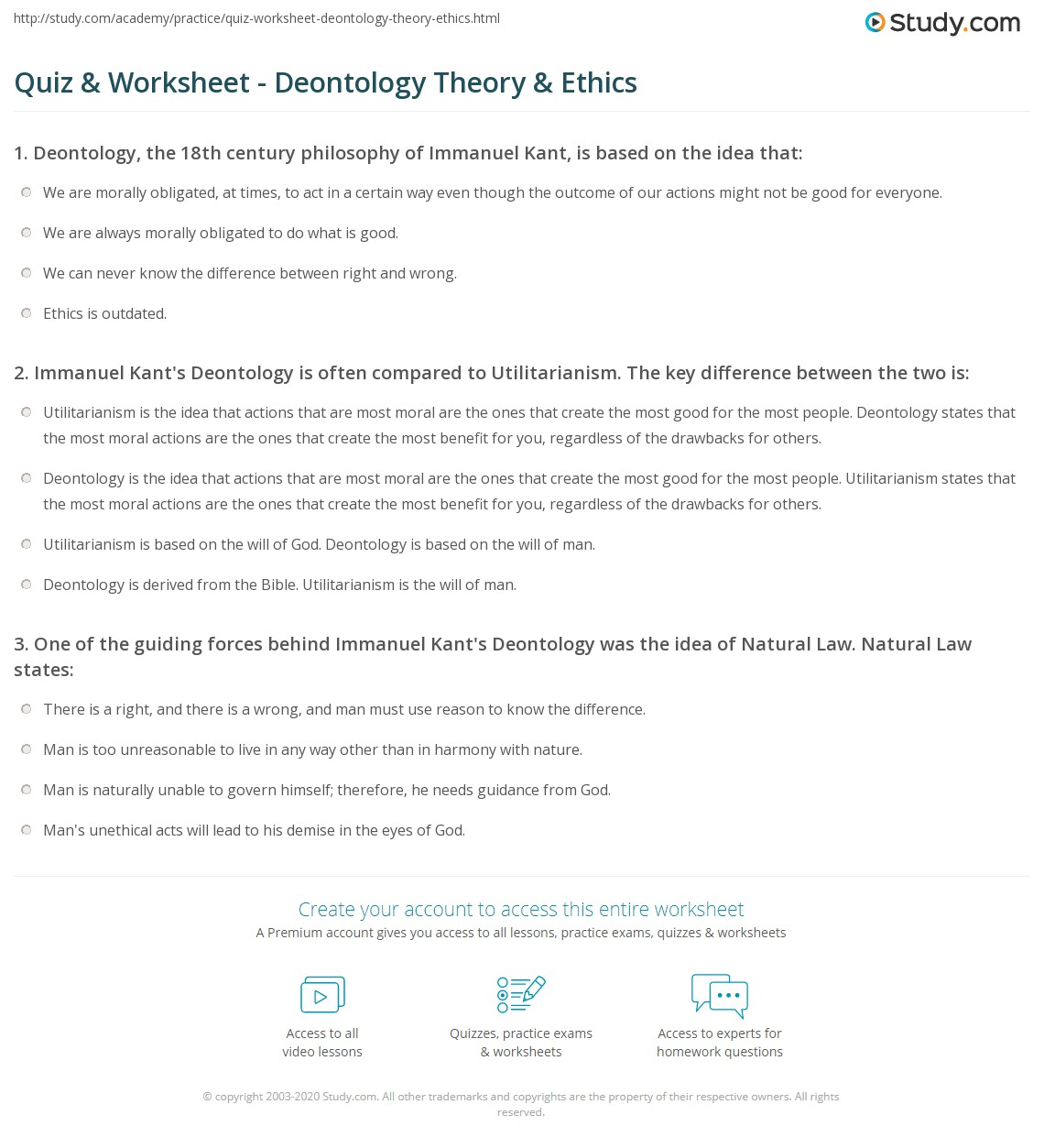 Quiz Worksheet Deontology Theory Ethics Study