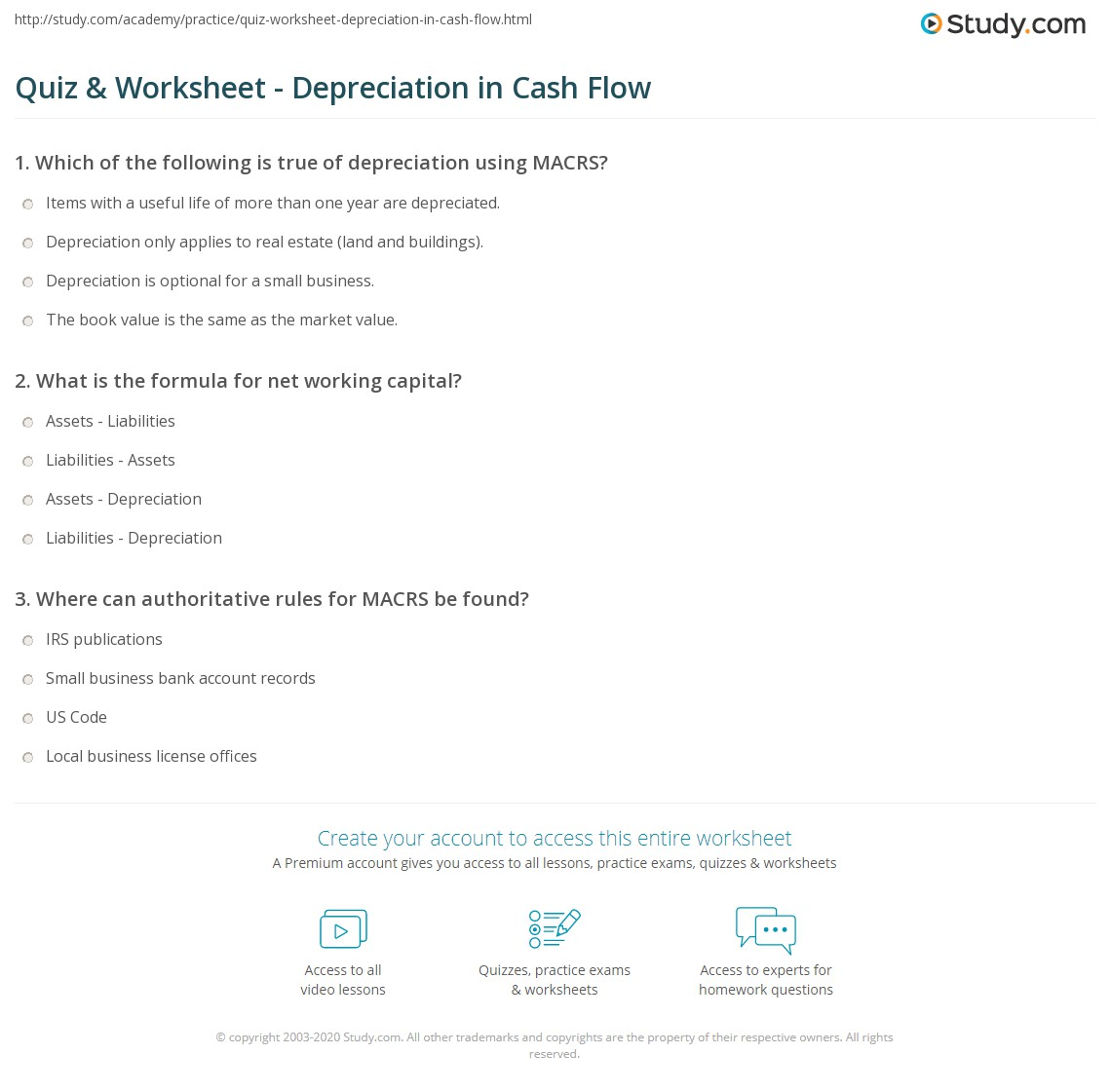 quiz worksheet depreciation in cash flow study com