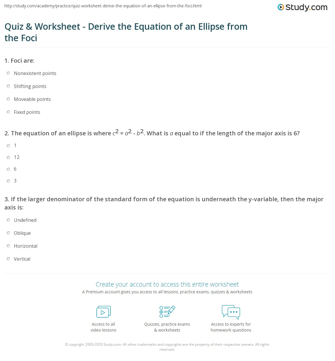 worksheet Ellipses Worksheet ellipse worksheet the best and most comprehensive worksheets print derive equation of an from foci worksheet