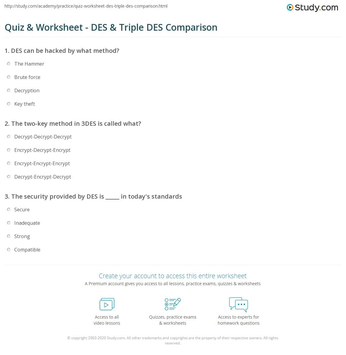 Quiz & Worksheet - DES & Triple DES Comparison | Study com