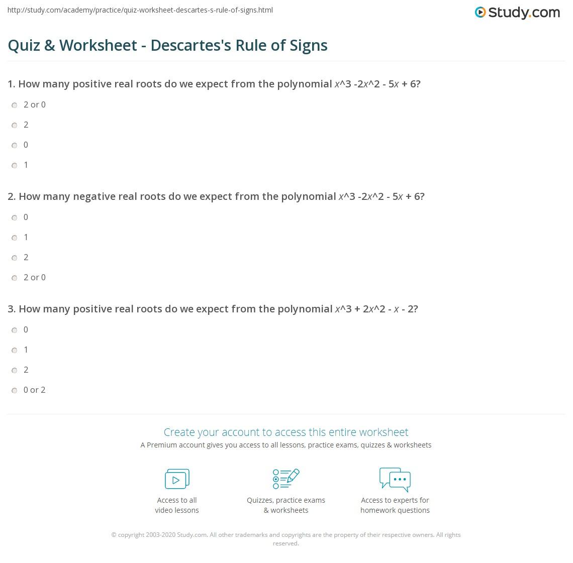 Quiz Worksheet Descartes S Rule Of Signs Study Com
