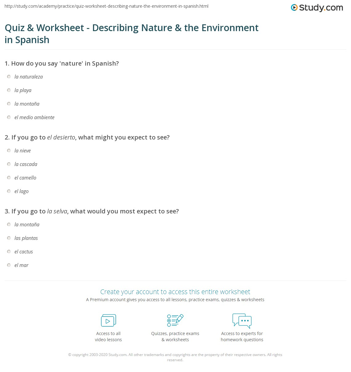 quiz worksheet describing nature the environment in spanish. Black Bedroom Furniture Sets. Home Design Ideas