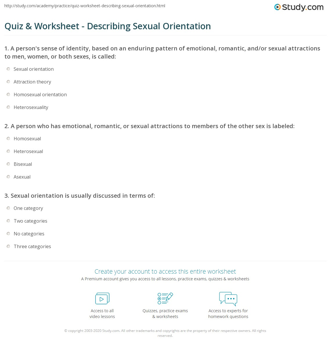 Sexual identity worksheets