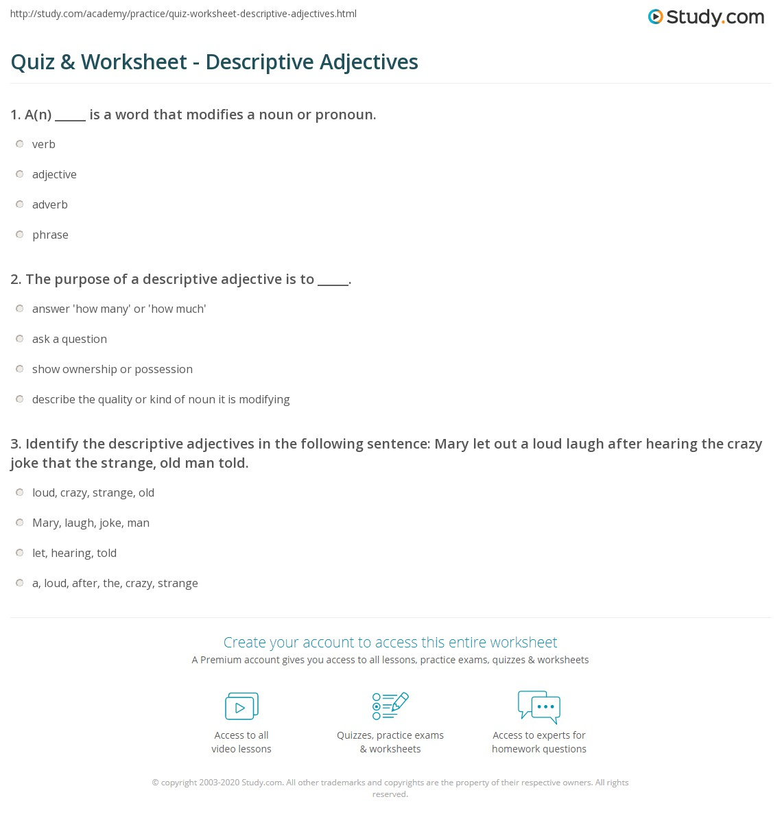 Quiz & Worksheet - Descriptive Adjectives | Study.com