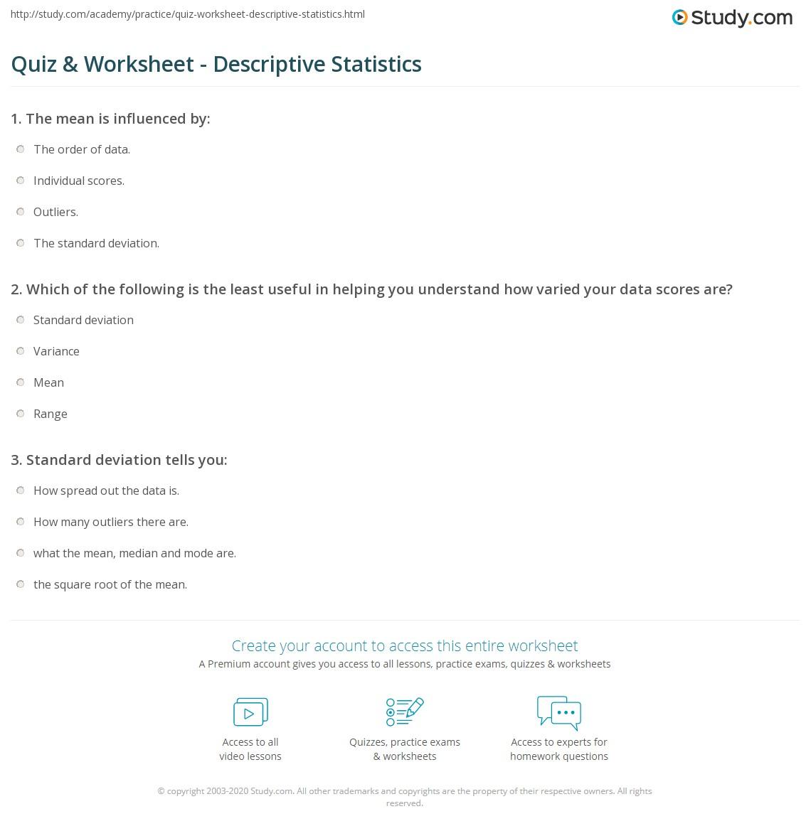 Quiz & Worksheet - Descriptive Statistics | Study com