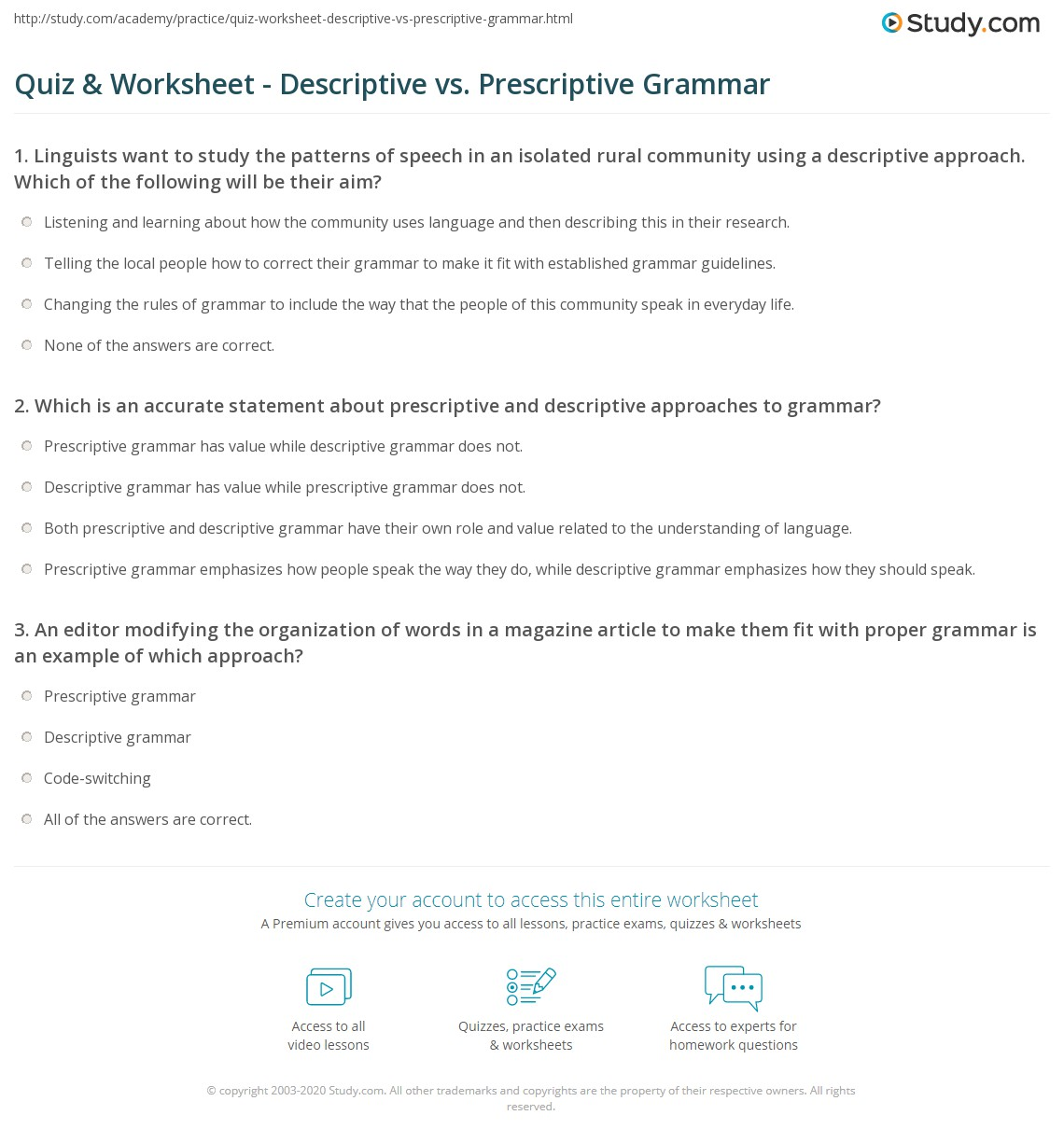 Worksheets Grammar Worksheets College quiz worksheet descriptive vs prescriptive grammar study com conventions of worksheet