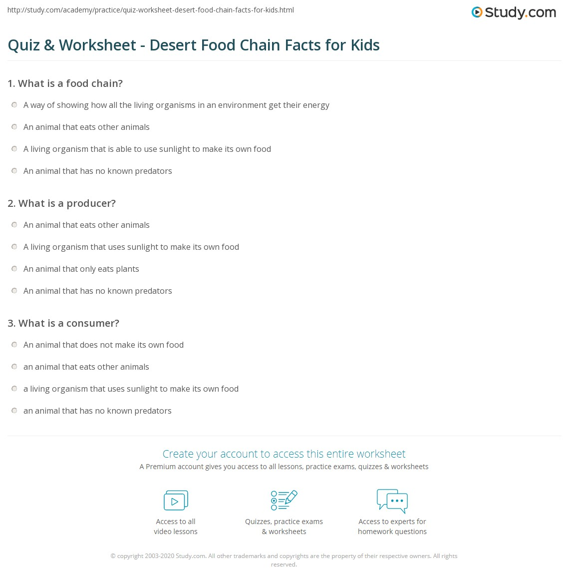 Quiz Worksheet Desert Food Chain Facts For Kids Study Com