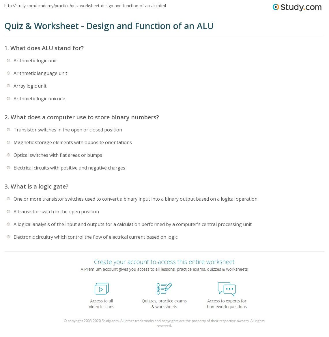 Quiz Worksheet Design And Function Of An Alu Arithmetic Logic Unit Diagram Print Definition