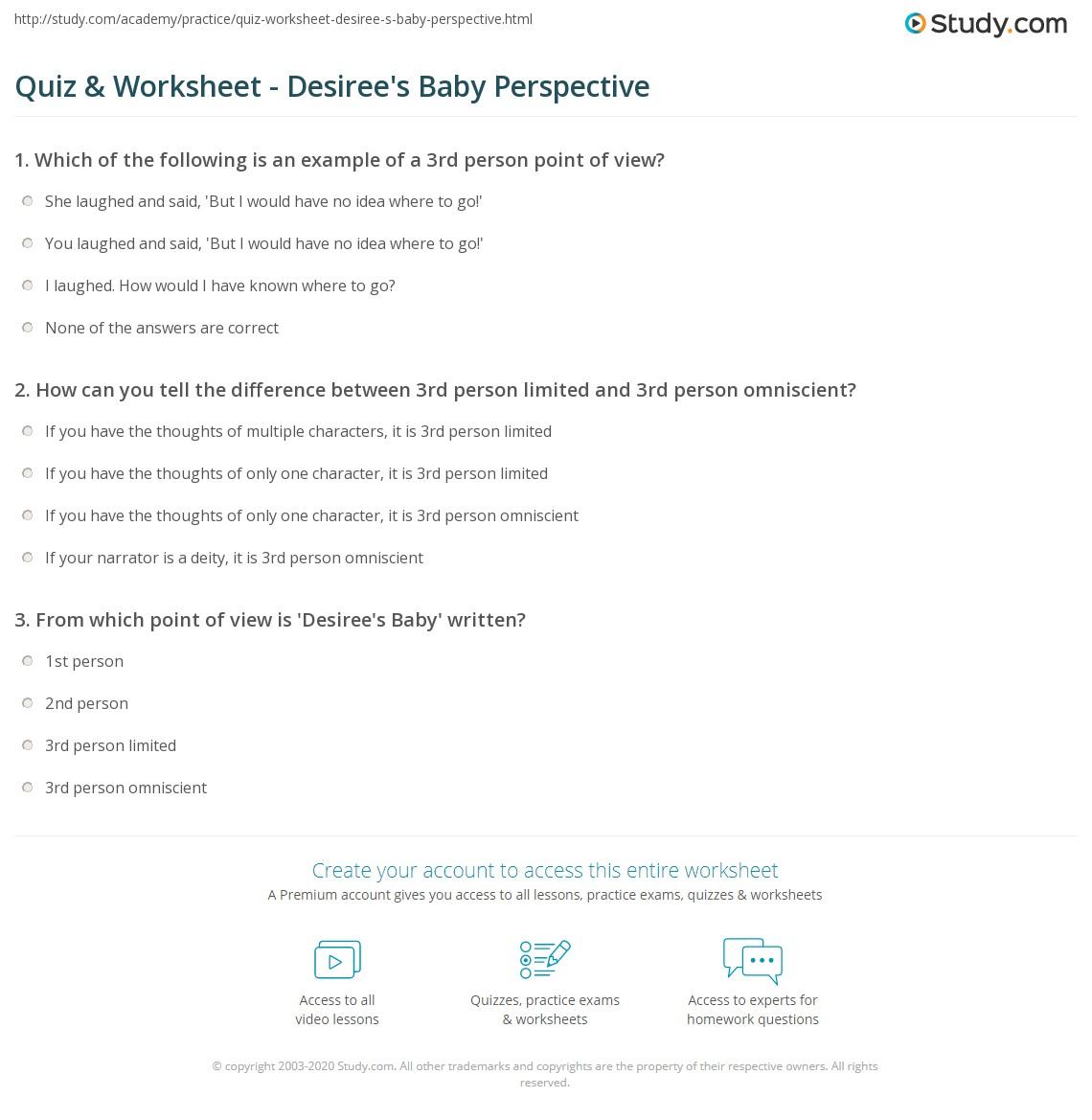 Quiz & Worksheet - Desiree\'s Baby Perspective | Study.com