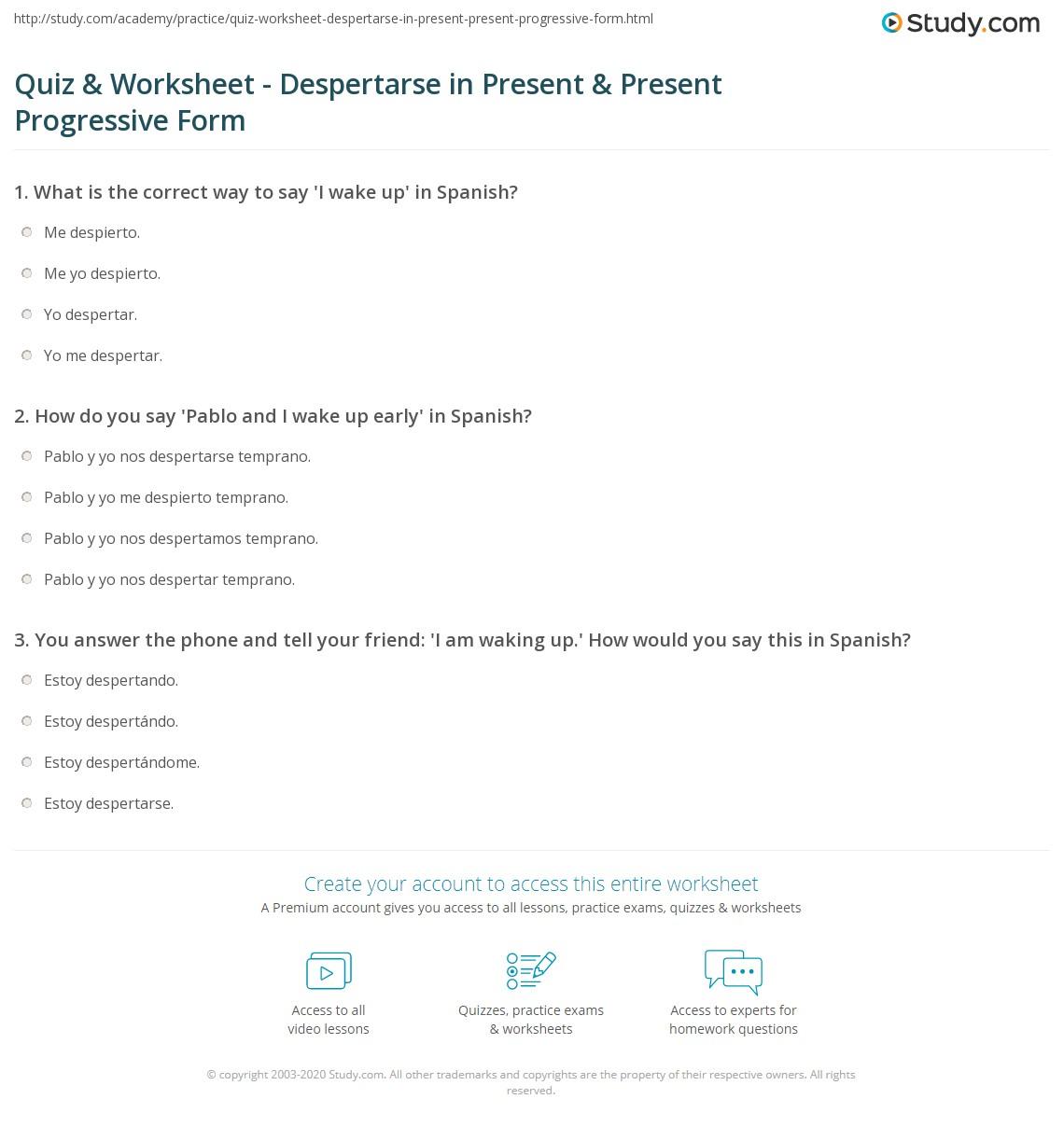 Quiz & Worksheet - Despertarse in Present & Present ...