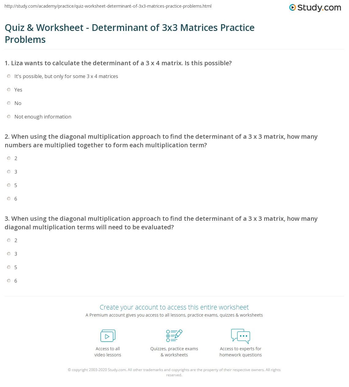 worksheet Matrix Determinant Worksheet quiz worksheet determinant of 3x3 matrices practice problems print finding the a matrix worksheet