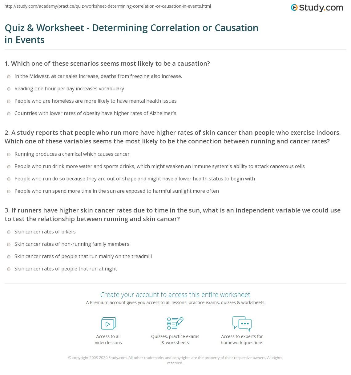 quiz worksheet determining correlation or causation in events. Black Bedroom Furniture Sets. Home Design Ideas