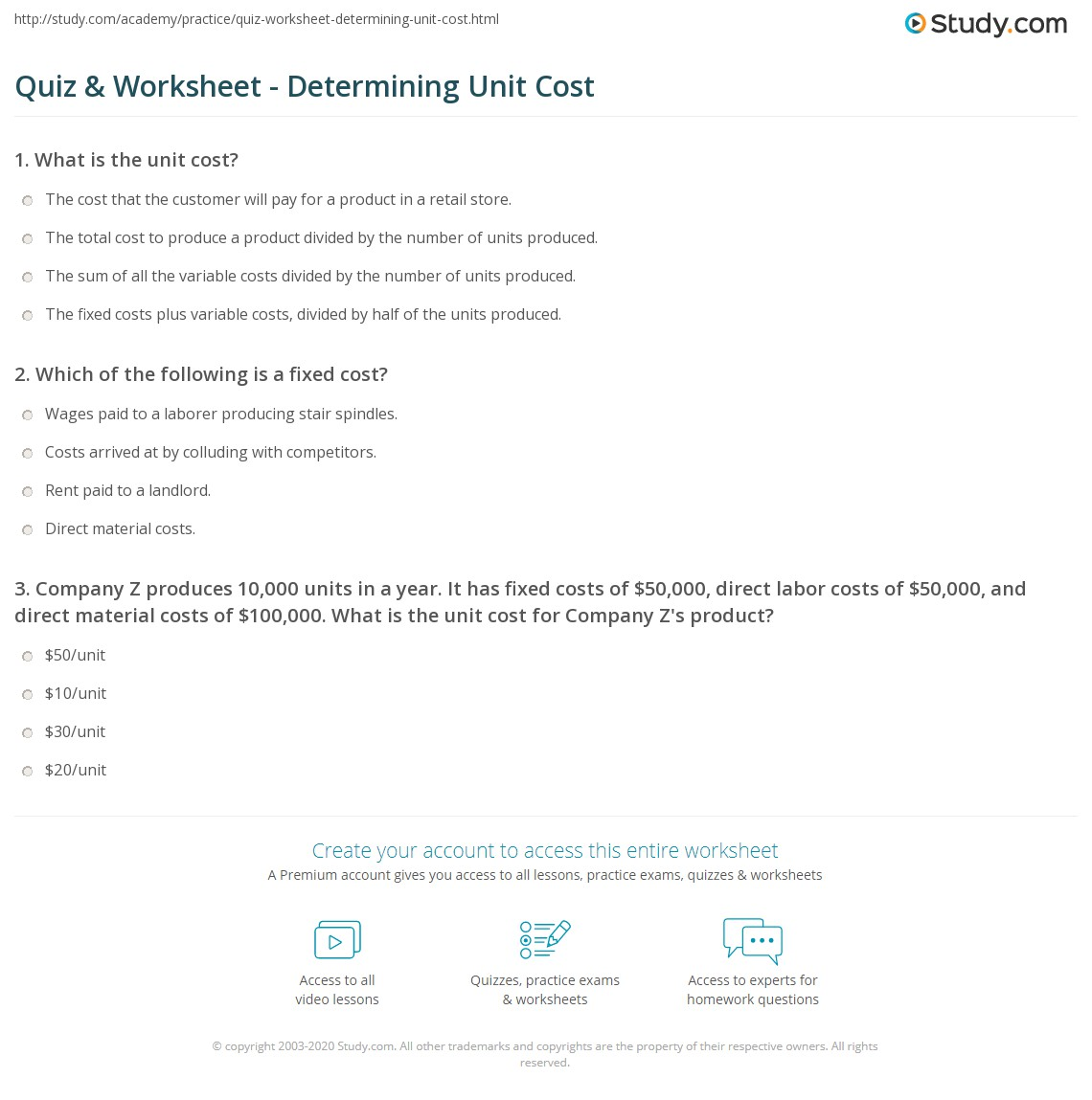 quiz worksheet determining unit cost. Black Bedroom Furniture Sets. Home Design Ideas