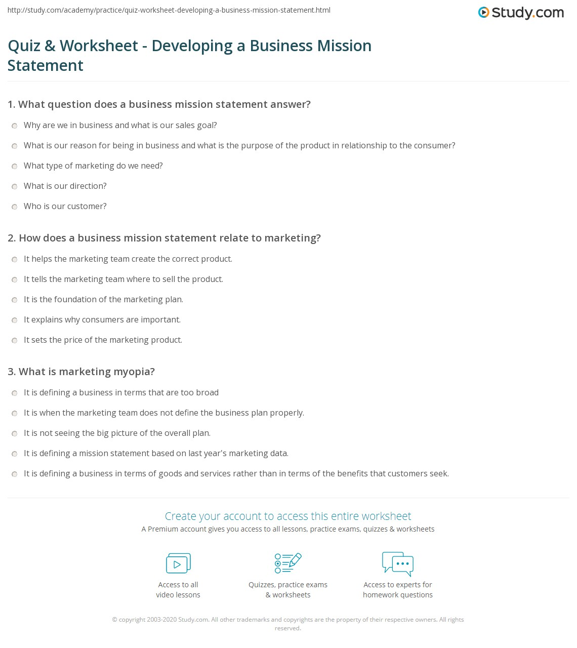 worksheet Personal Mission Statement Worksheet quiz worksheet developing a business mission statement study com print plans how to develop worksheet