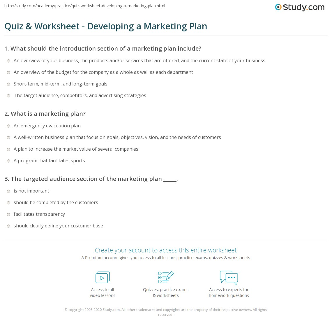 Worksheets Marketing Plan Worksheet quiz worksheet developing a marketing plan study com print how to write worksheet