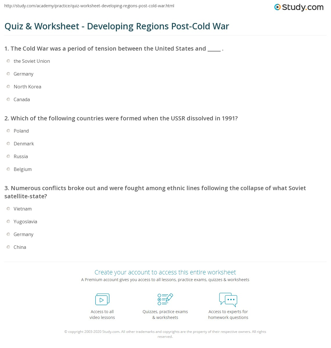 quiz worksheet developing regions post cold war study com rh study com Cold War 5th Grade Study Guide Cold War Study Notes