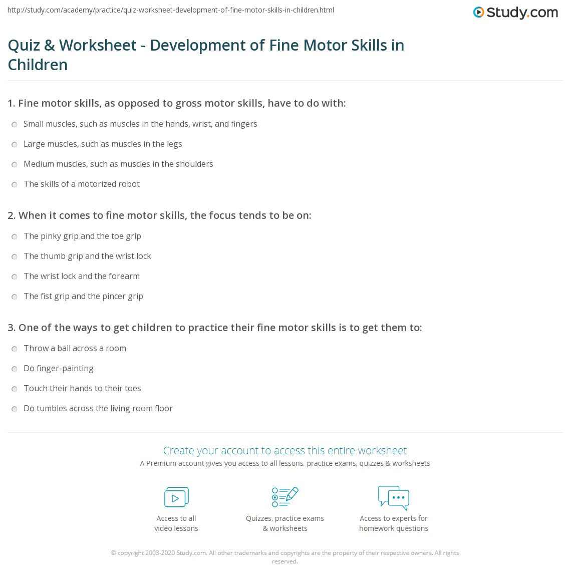 Worksheets Fine Motor Skills Worksheets quiz worksheet development of fine motor skills in children print what are definition examples worksheet