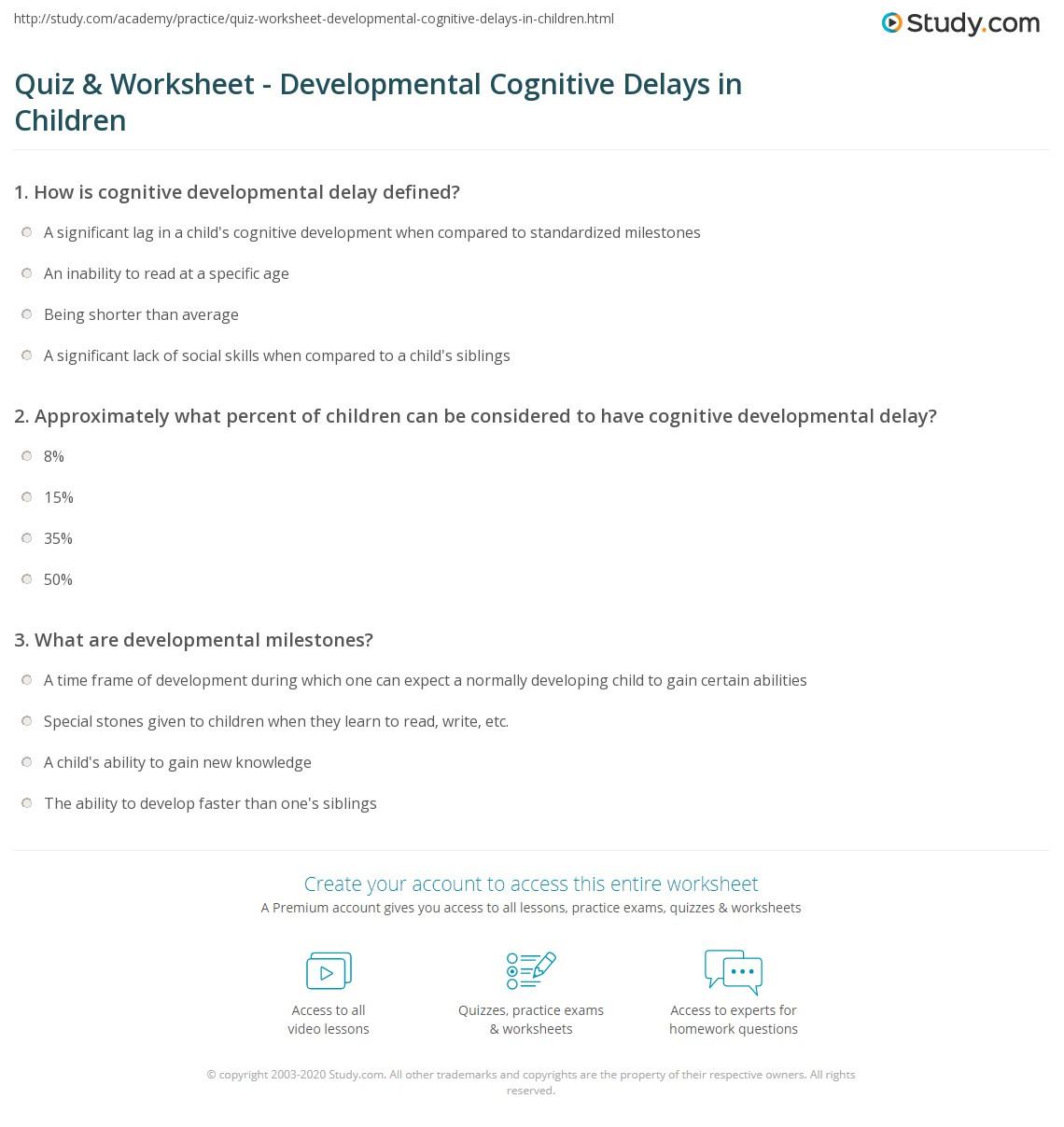 quiz & worksheet - developmental cognitive delays in children