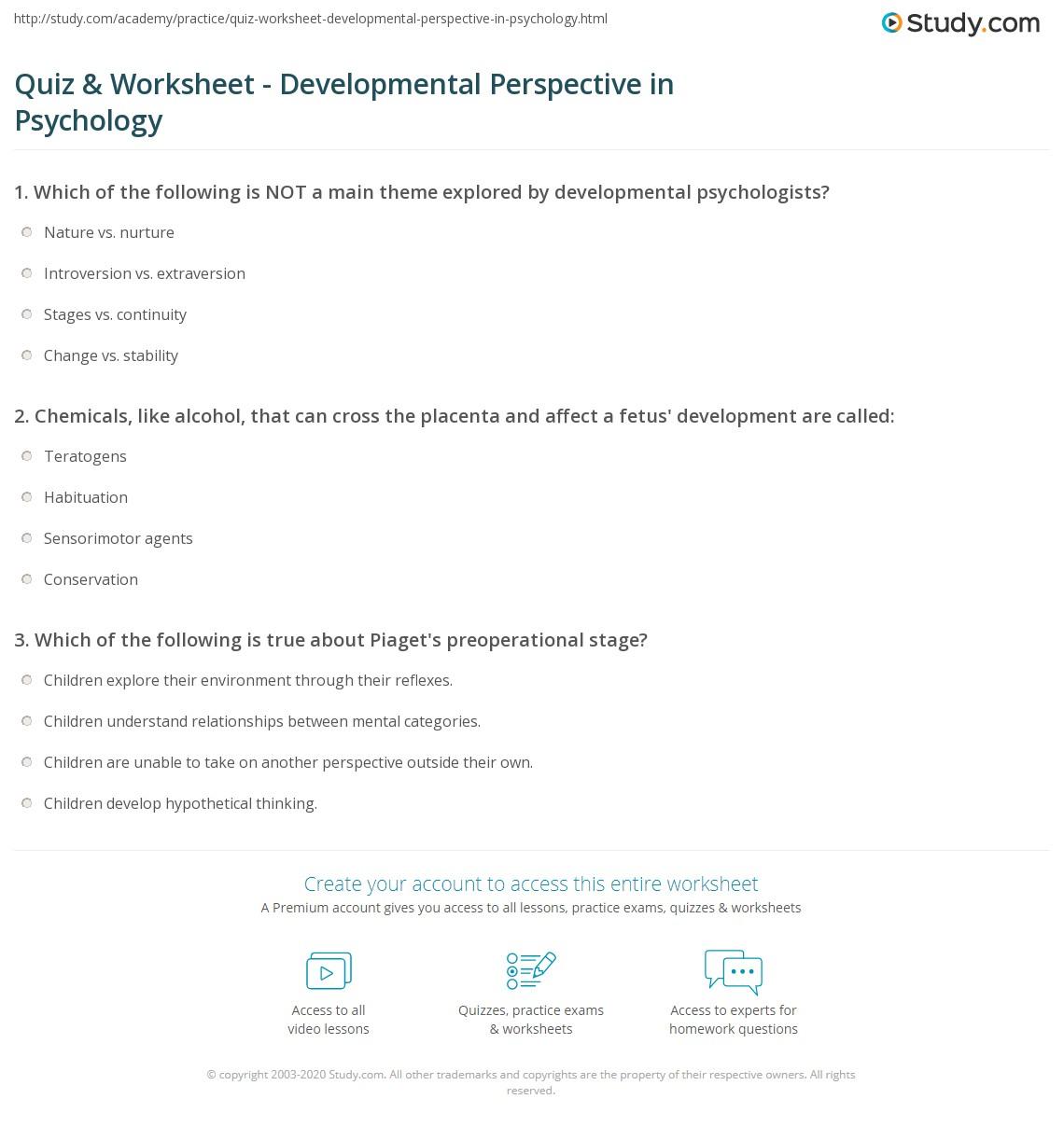 Workbooks psychology worksheets : Quiz & Worksheet - Developmental Perspective in Psychology | Study.com