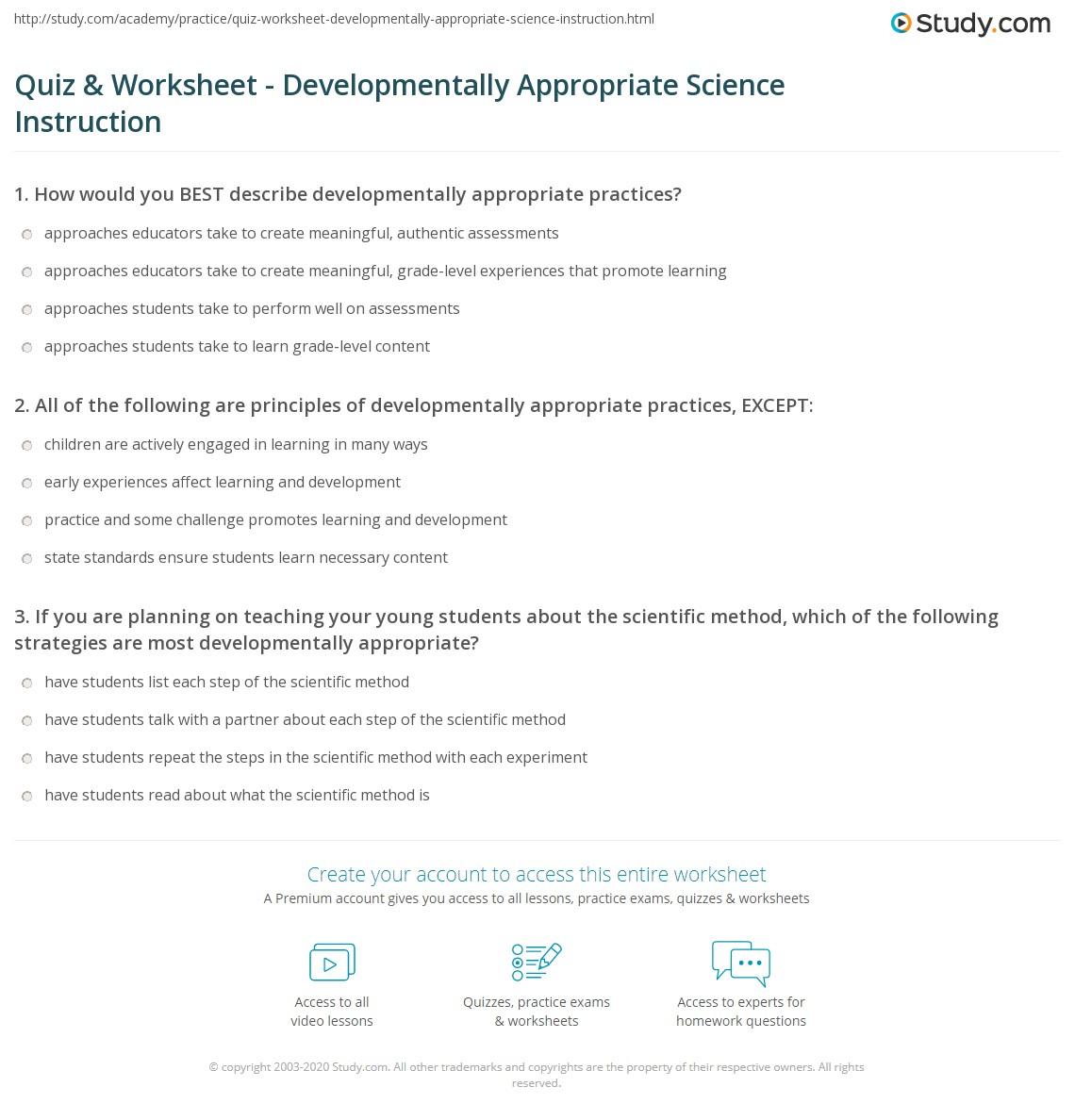 Quiz & Worksheet - Developmentally Appropriate Science ...