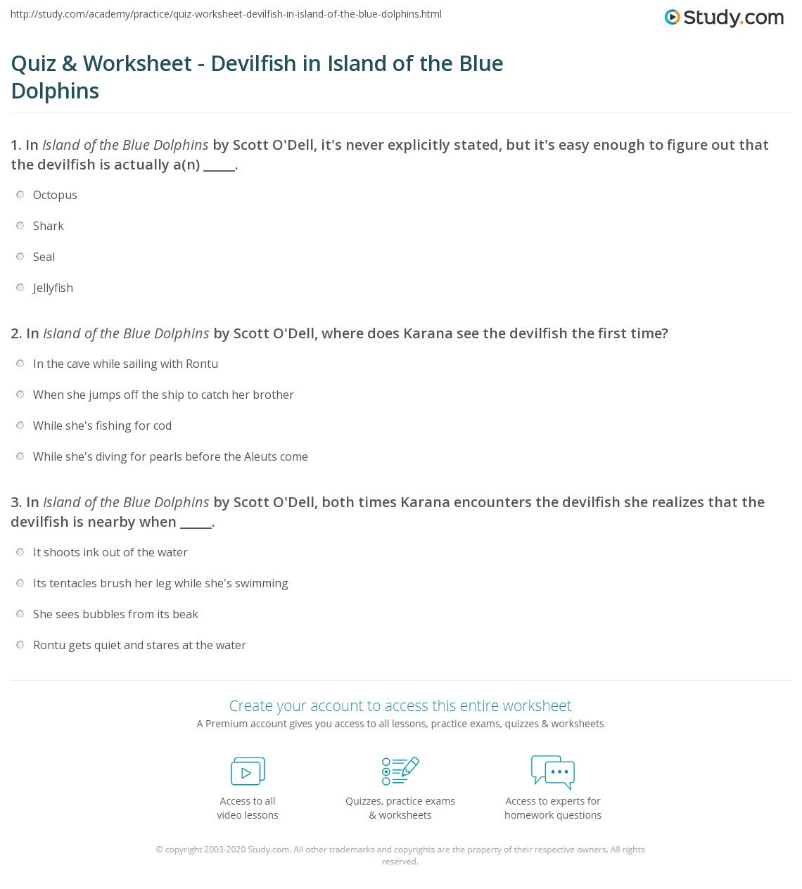 worksheet Island Of The Blue Dolphins Worksheets quiz worksheet devilfish in island of the blue dolphins print worksheet