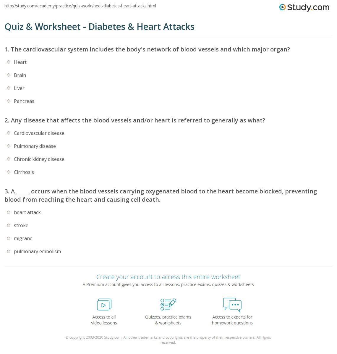 Quiz Worksheet Diabetes Heart Attacks Study