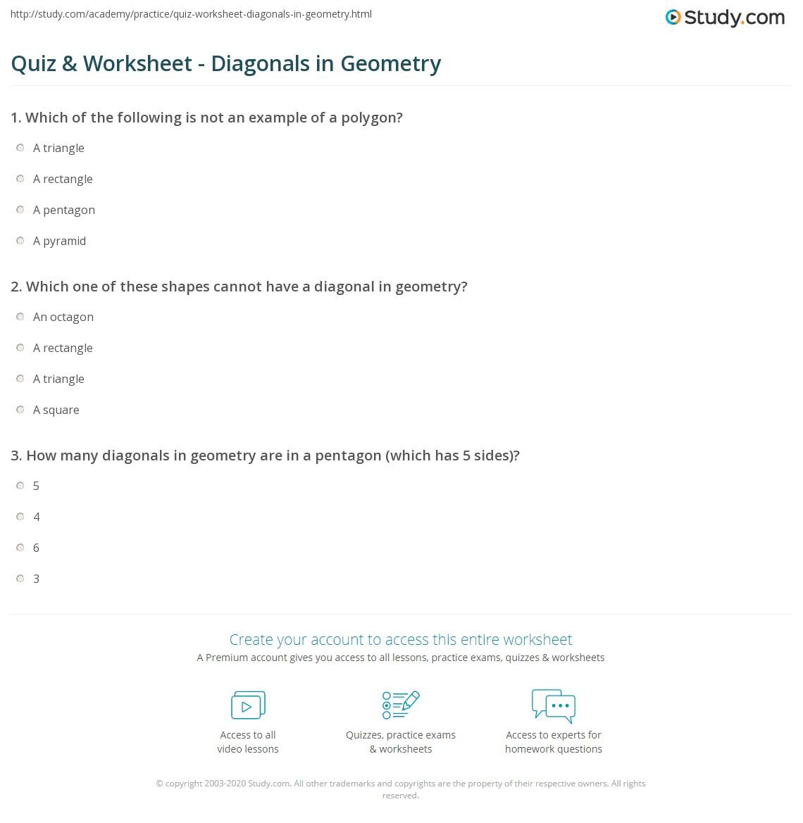 quiz worksheet diagonals in geometry. Black Bedroom Furniture Sets. Home Design Ideas