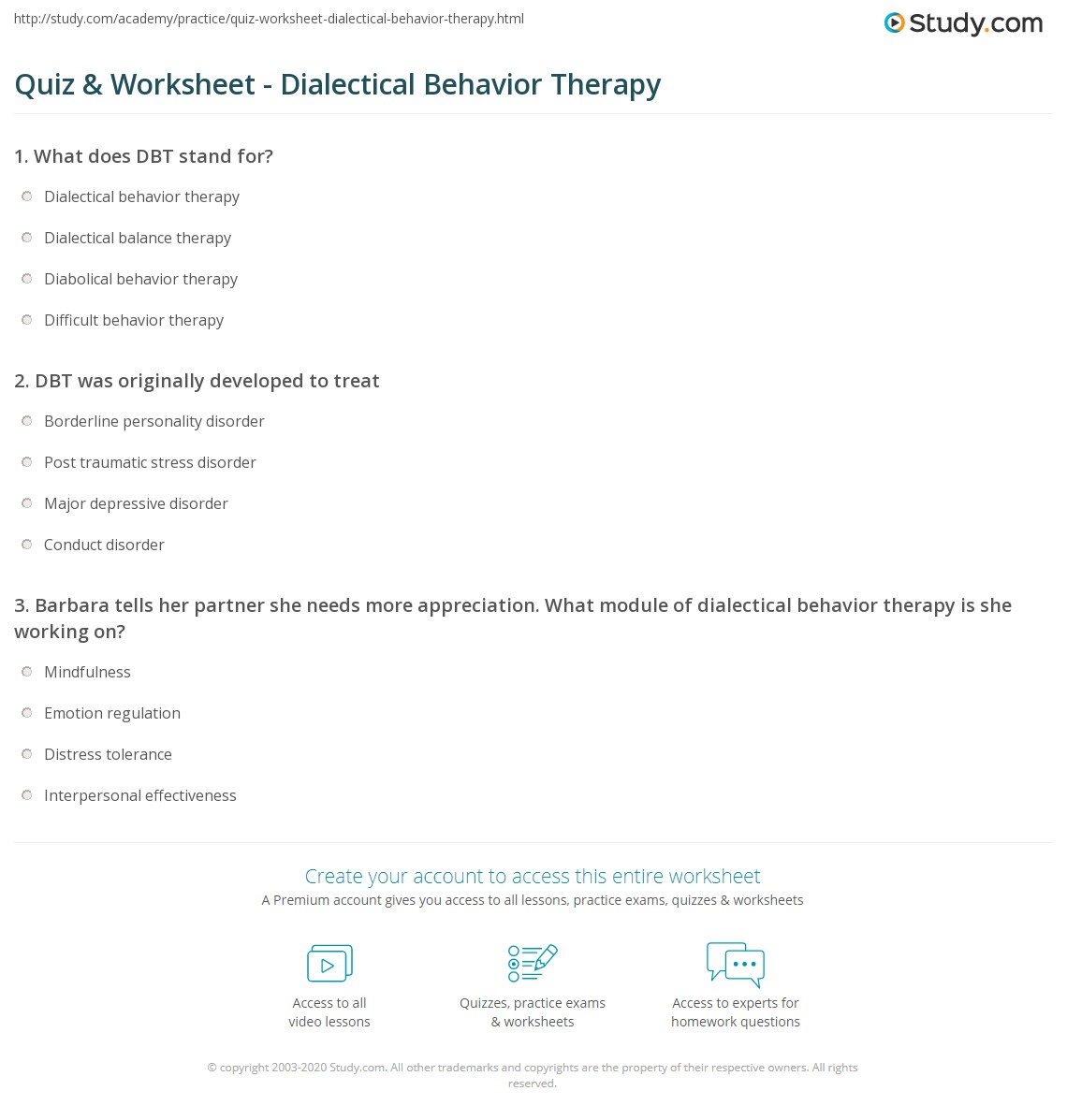 Quiz & Worksheet Dialectical Behavior Therapy