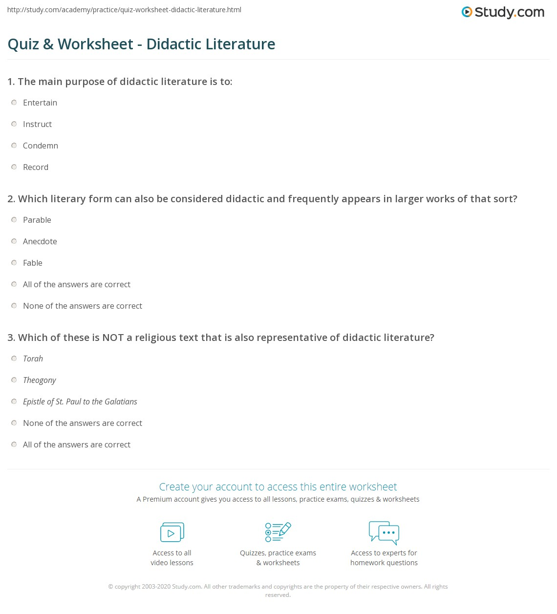 Quiz Worksheet Didactic Literature Study Com