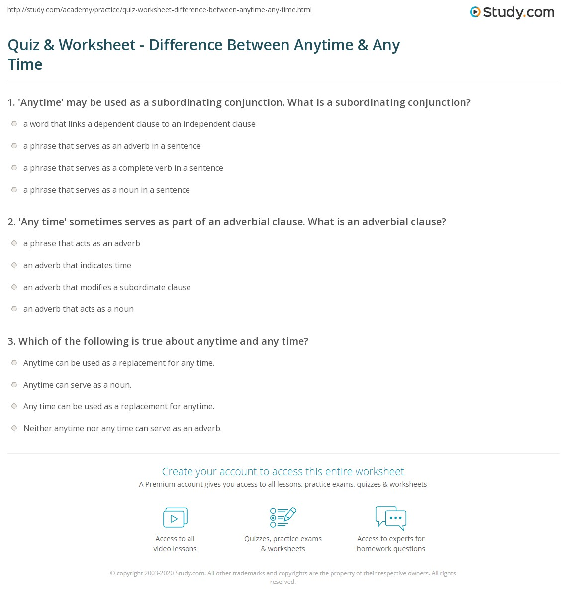 Quiz worksheet difference between anytime any time study print anytime vs any time worksheet ibookread Read Online