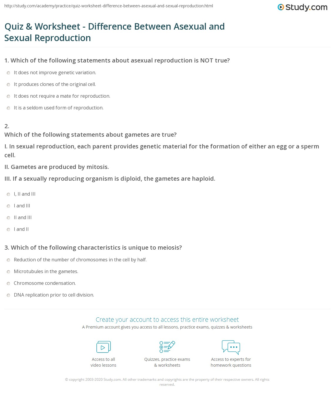 quiz worksheet difference between asexual and sexual reproduction. Black Bedroom Furniture Sets. Home Design Ideas