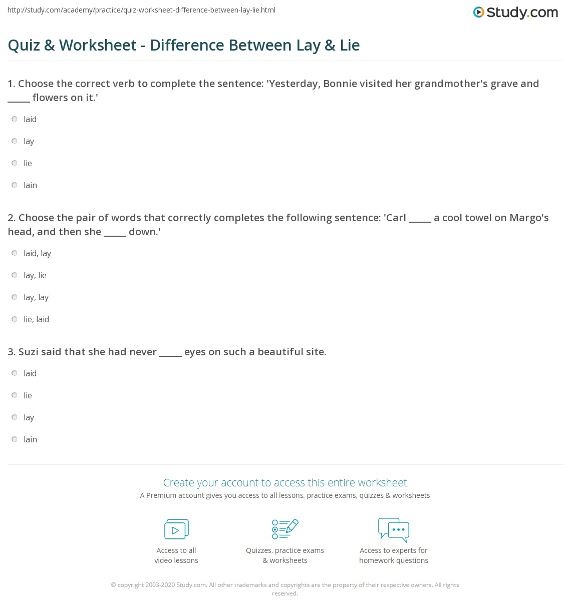 Grammar Worksheet: Lie vs. Lay 6th - 8th Grade Worksheet | Lesson ...