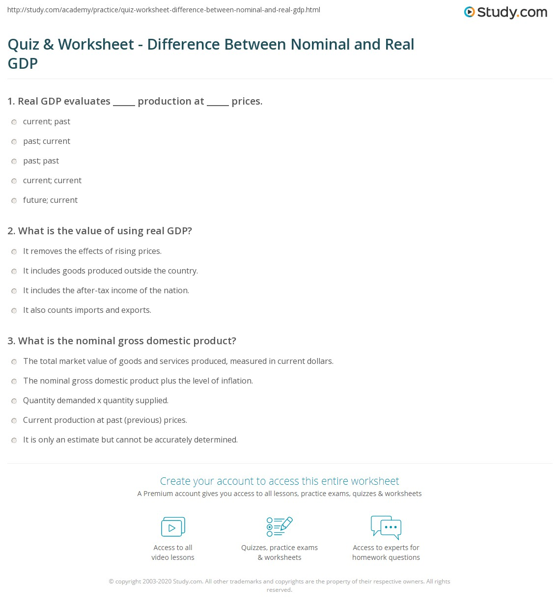 quiz worksheet difference between nominal and real gdp. Black Bedroom Furniture Sets. Home Design Ideas