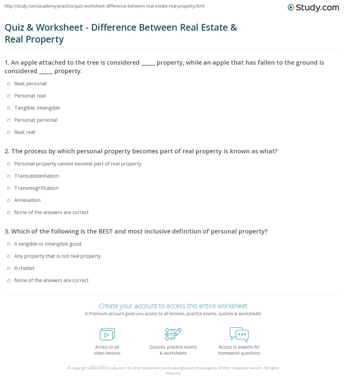 worksheet Personal Exemption Worksheet quiz worksheet difference between real estate property print vs differences terms worksheet
