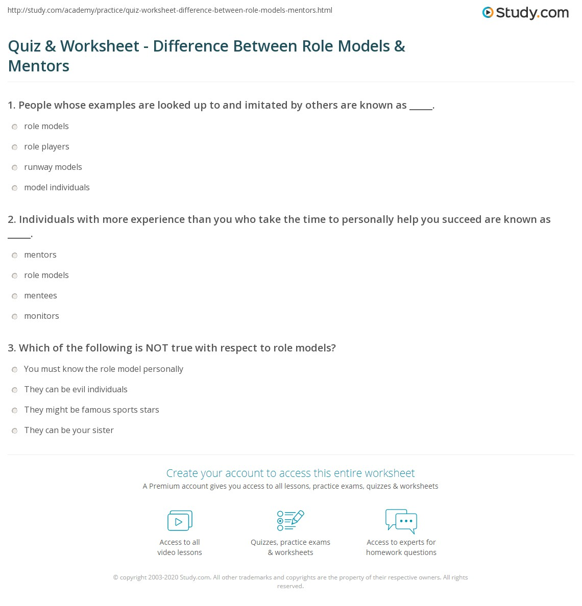 Quiz Worksheet Difference Between Role Models Mentors Study