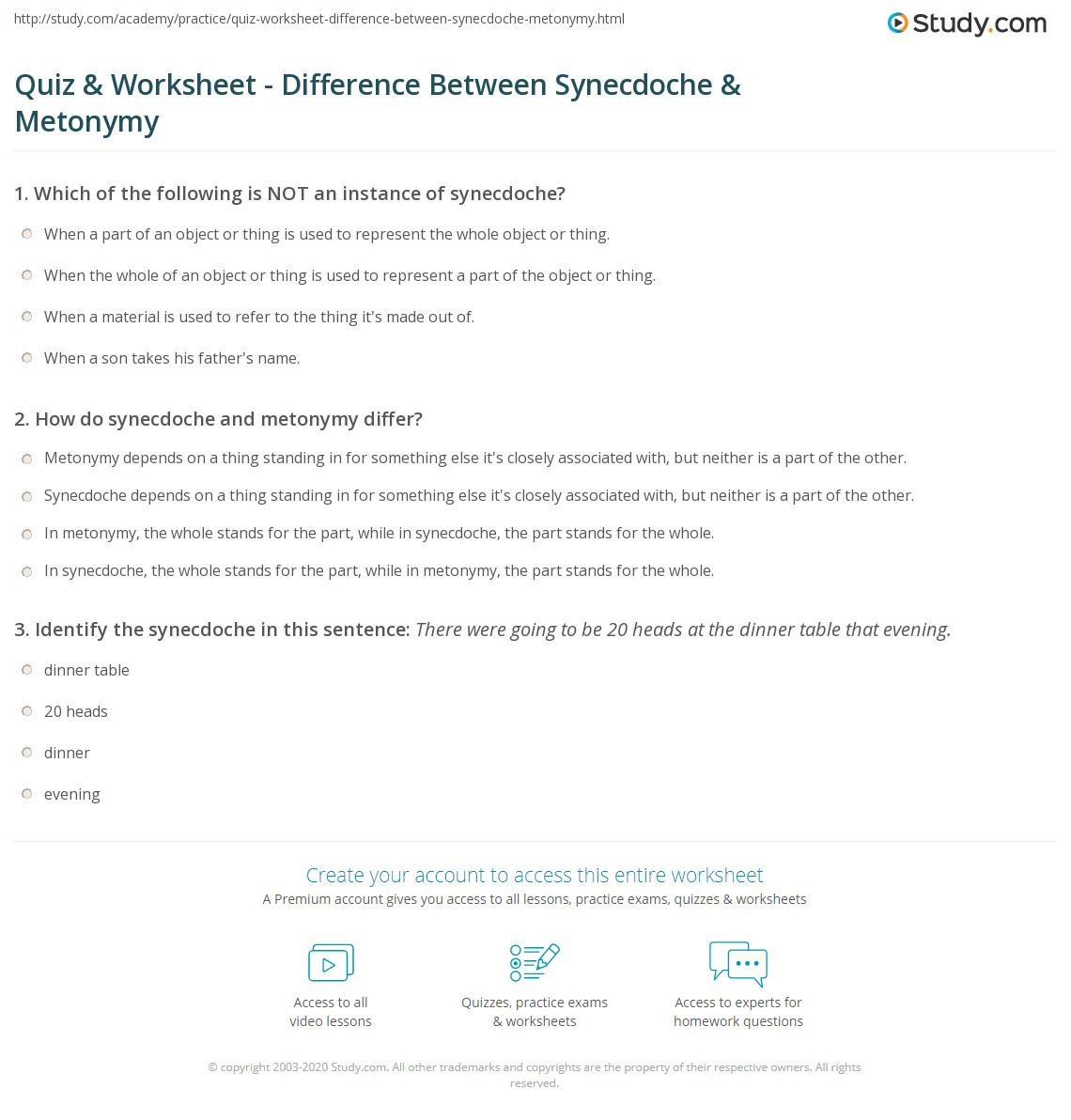 quiz worksheet difference between synecdoche metonymy. Black Bedroom Furniture Sets. Home Design Ideas