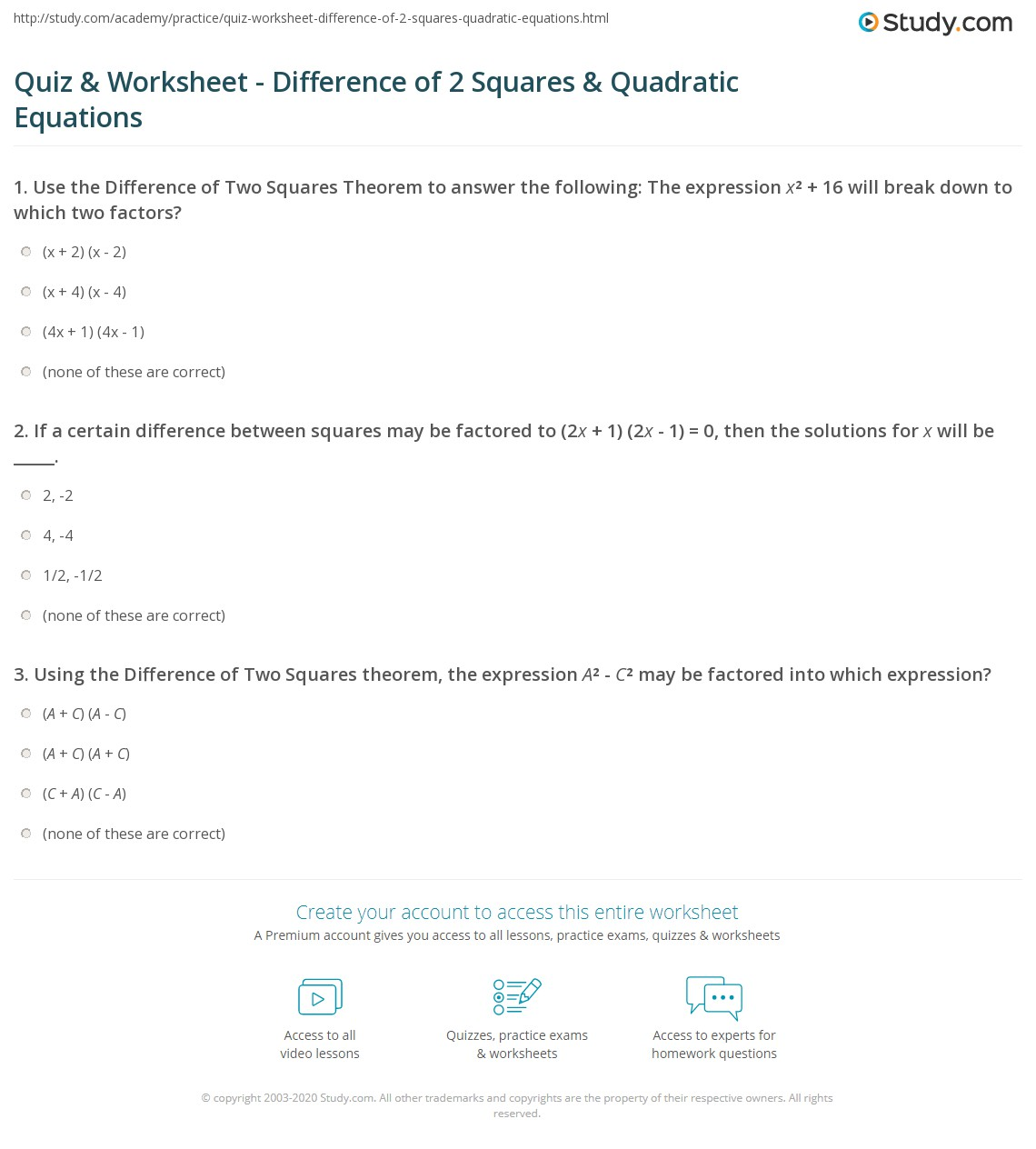 Quiz & Worksheet - Difference of 2 Squares & Quadratic Equations ...