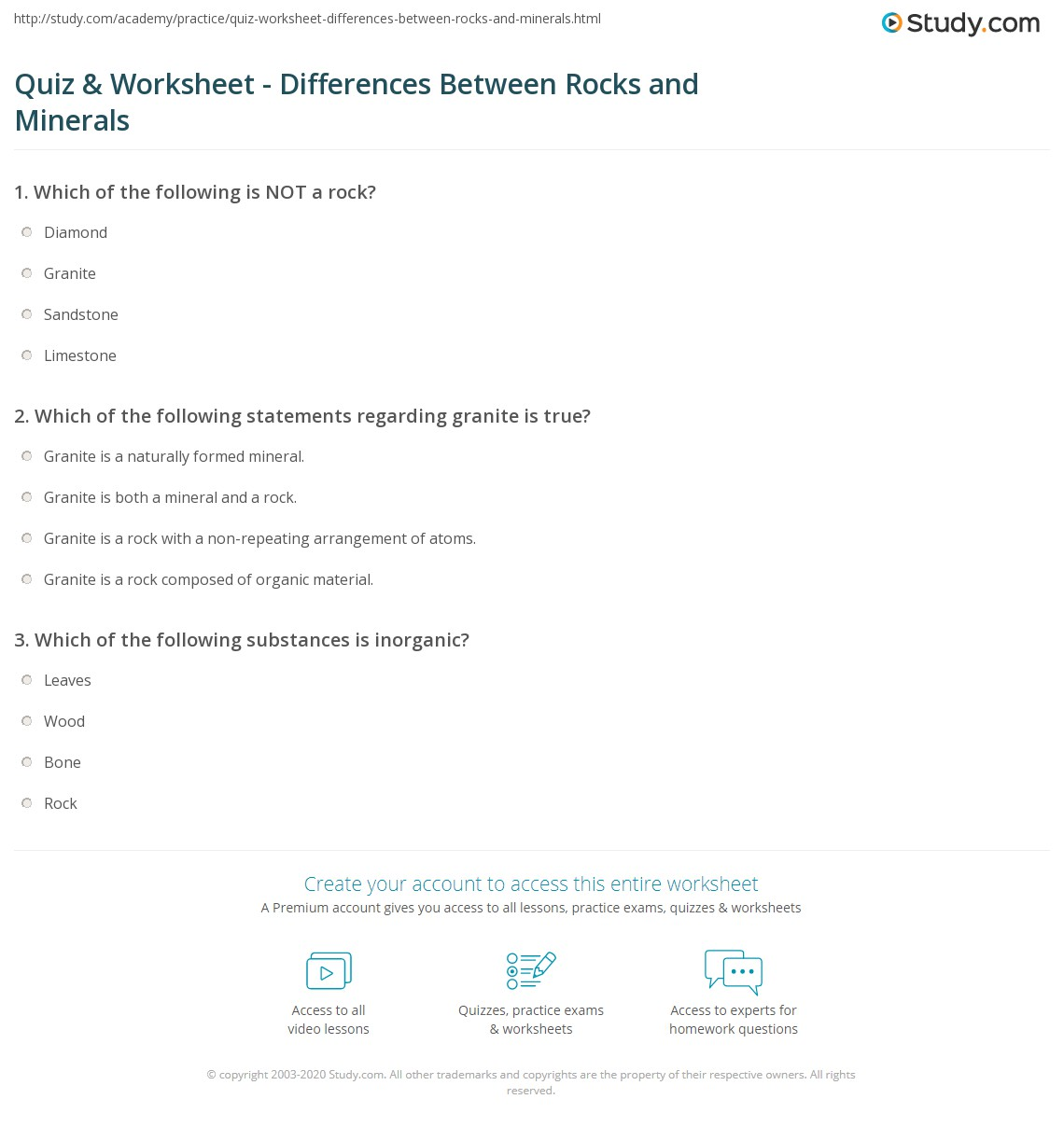 Quiz Worksheet Differences Between Rocks And Minerals Study