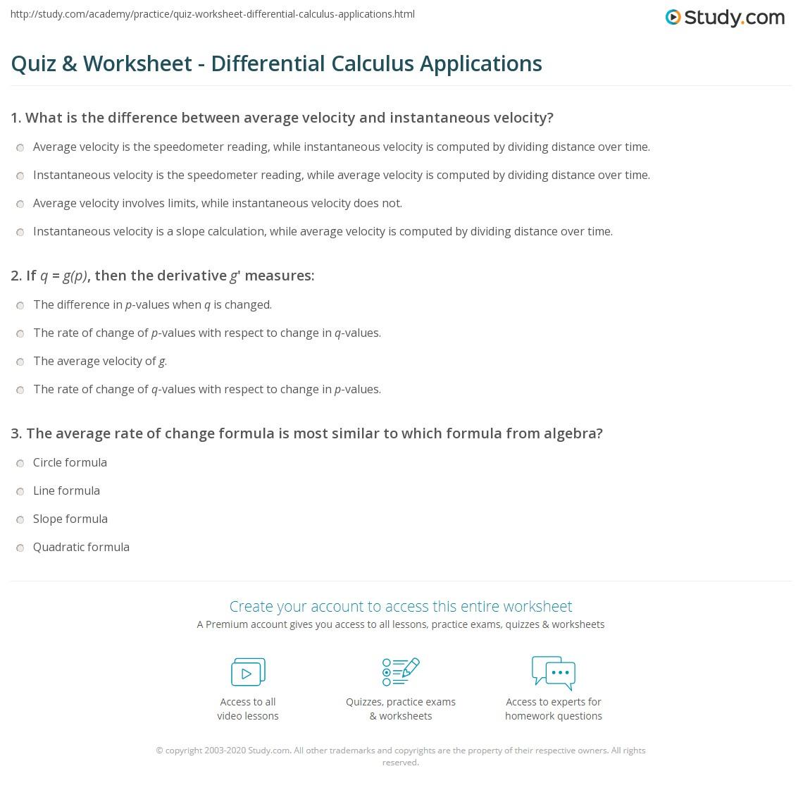 Uncategorized Average Rate Of Change Worksheet quiz worksheet differential calculus applications study com print definition worksheet