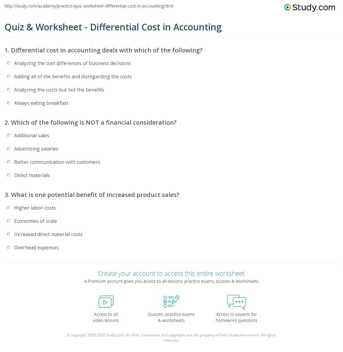 Printables Worksheet In Accounting Definition quiz worksheet differential cost in accounting study com print definition analysis formula worksheet