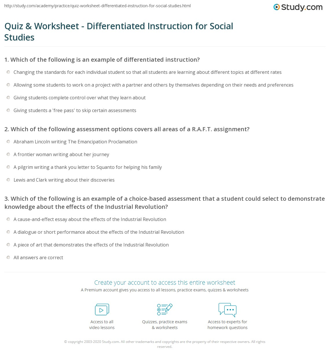Quiz Worksheet Differentiated Instruction For Social Studies
