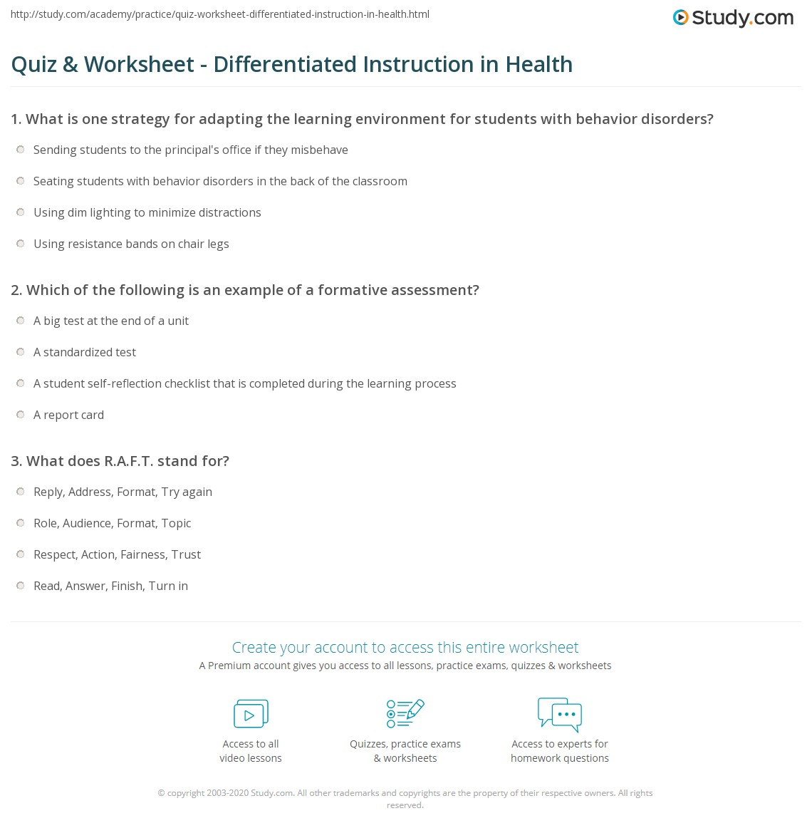 Quiz Worksheet Differentiated Instruction In Health Study