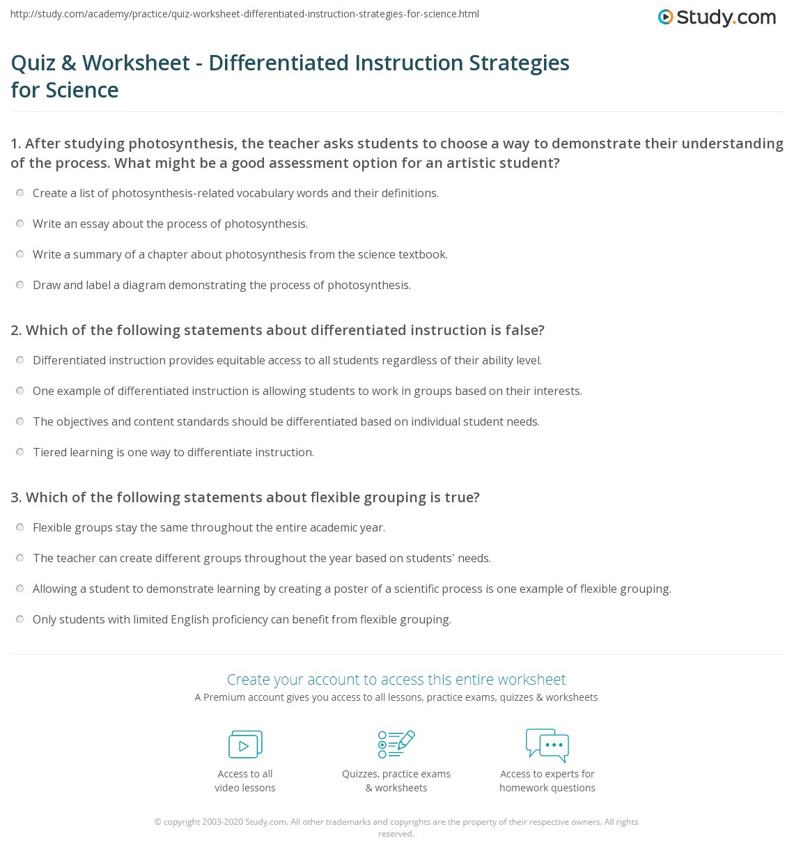 Quiz Worksheet Differentiated Instruction Strategies For Science