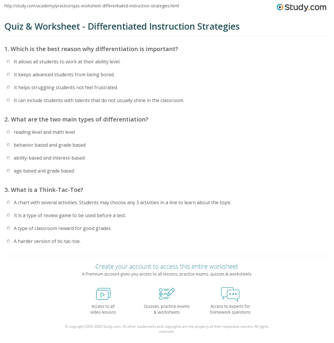 Quiz Worksheet Differentiated Instruction Strategies Study