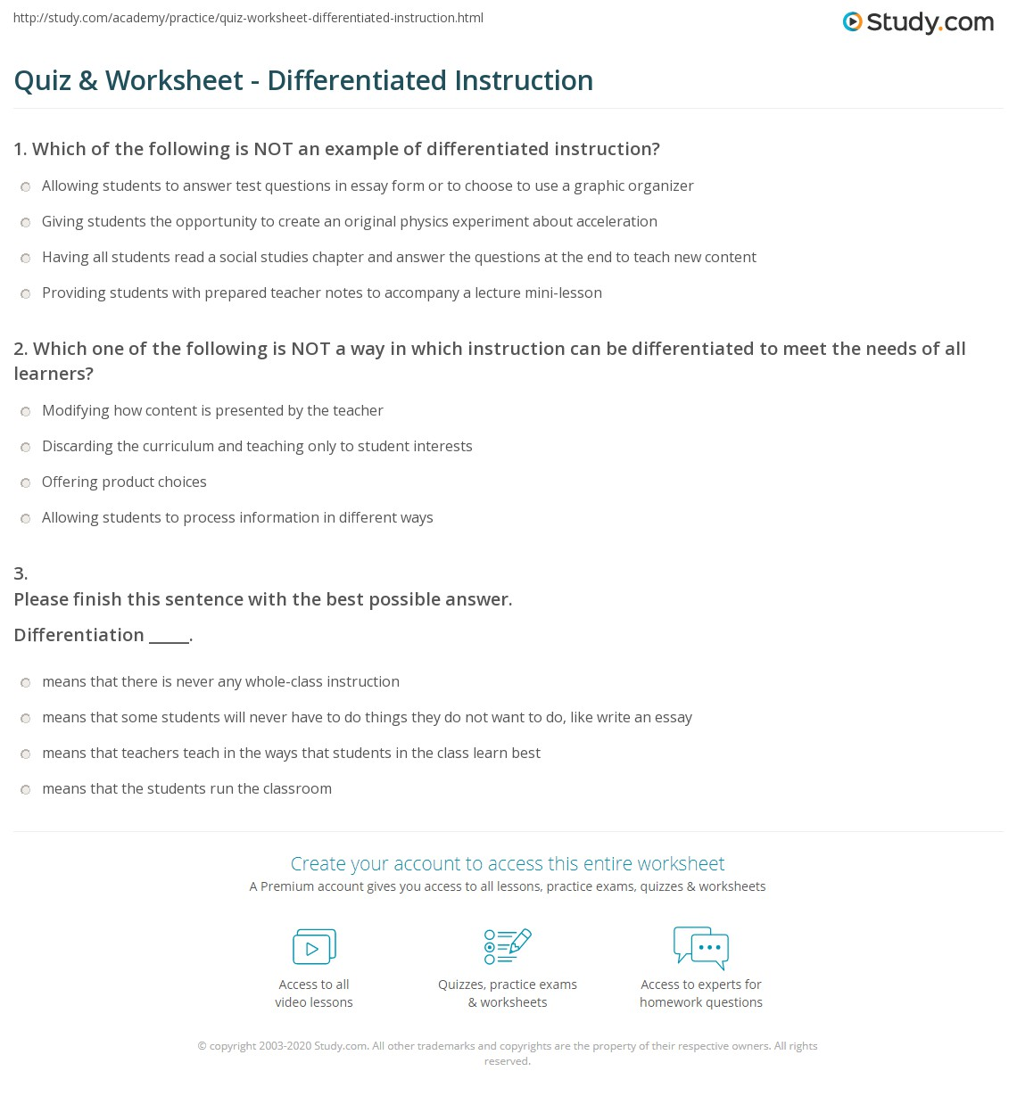 Quiz Worksheet Differentiated Instruction Study