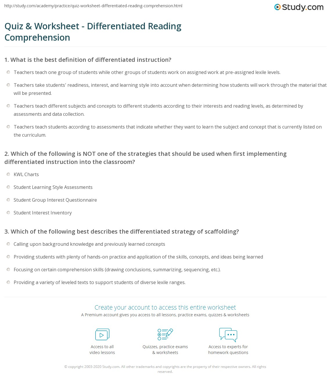 Quiz & Worksheet - Differentiated Reading Comprehension | Study.com