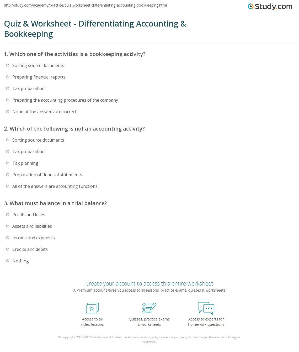 worksheet Worksheet For Accounting quiz worksheet differentiating accounting bookkeeping study com print vs differences and similarities worksheet