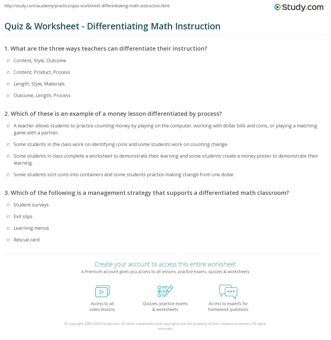 Quiz Worksheet Differentiating Math Instruction Study