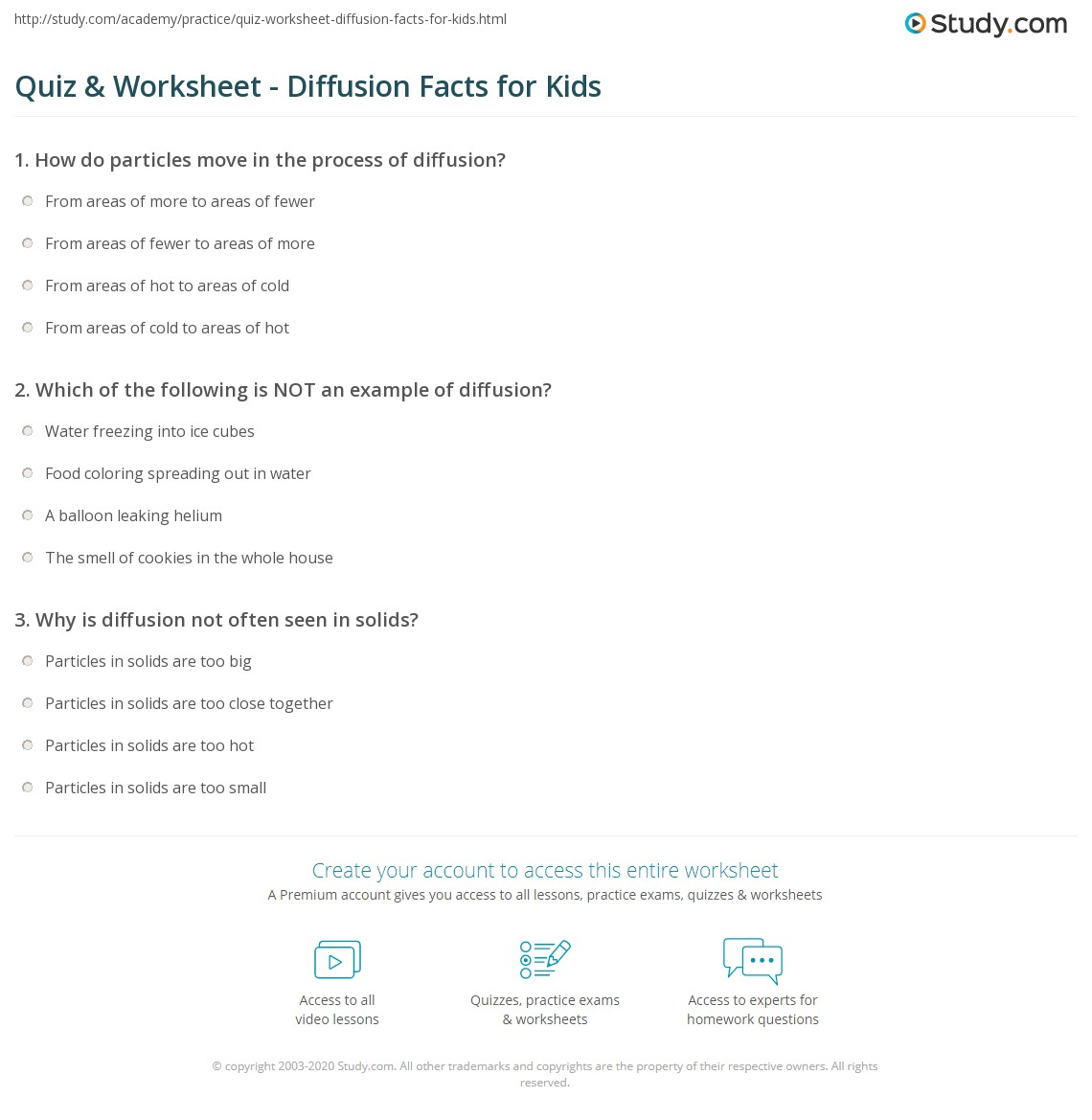 Quiz Worksheet Diffusion Facts For Kids Study Com